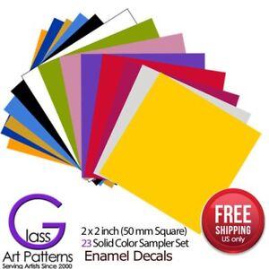 23-Colors-Sample-Set-Enamel-Decals-for-Fused-Glass-or-Ceramics-Waterslide-2-x-2