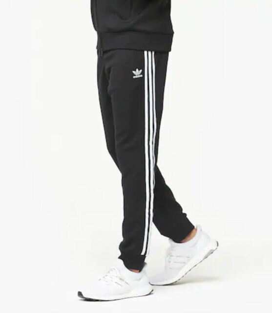 NEW MEN'S ADIDAS ORIGINALS SUPERSTAR CUFFED TRACK PANTS ~ MEDIUM #CW1275 BLACK