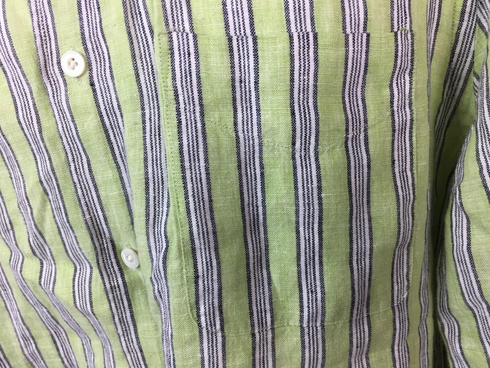 Express Men's Green Striped Button Up Shirt White… - image 9