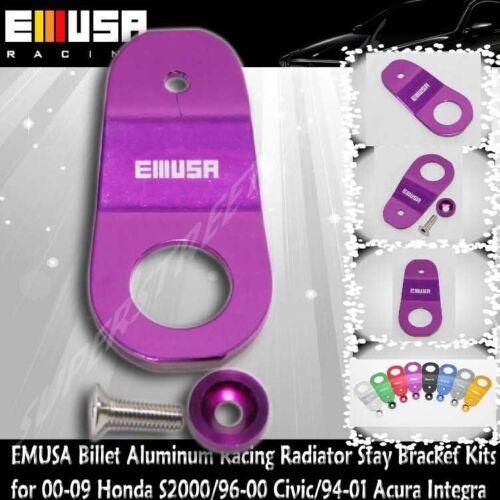 EMUSA Billet Aluminum RacingRadiatorStay Bracket Kit fit 94-01 IntegraDC2PURPLE