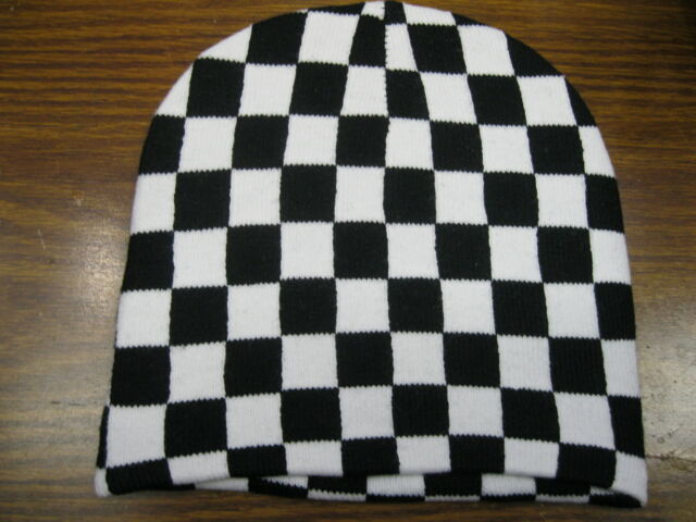 White And Black Checkered Design Winter Beanie Winter Knit Hat Skull