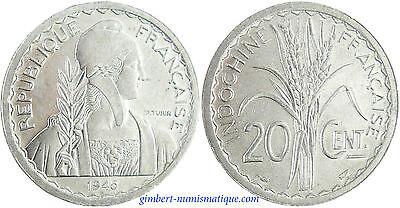 INDOCHINE  ,  20  CENTIMES  1945  ,  SUPERBE  À  FLEUR  DE  COIN