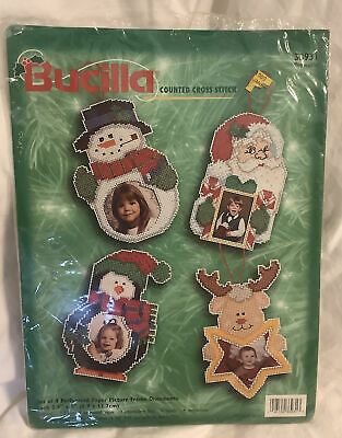 Wood Frame 2 Ornament Kits 1998 Bucilla Gallery of Stitches Christmas Collectible,Counted Cross Stitch Peace on Earth Beary Merry Xmas