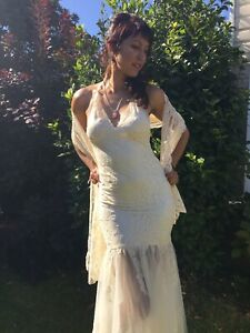 Details About Designer One Off Pronovias Style Wedding Dress Cream Lace Size 8 Made In Uk
