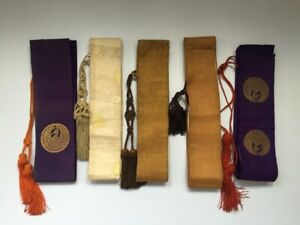 Japanese-Buddhist-Shoulder-Strap-5pc-Vtg-Monk-Dress-Shrine-Temple-Junk-R214