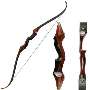 58in-Archery-Takedown-Recurve-Bow-Hunting-Wooden-Longbow-Right-Hand-35-55lbs