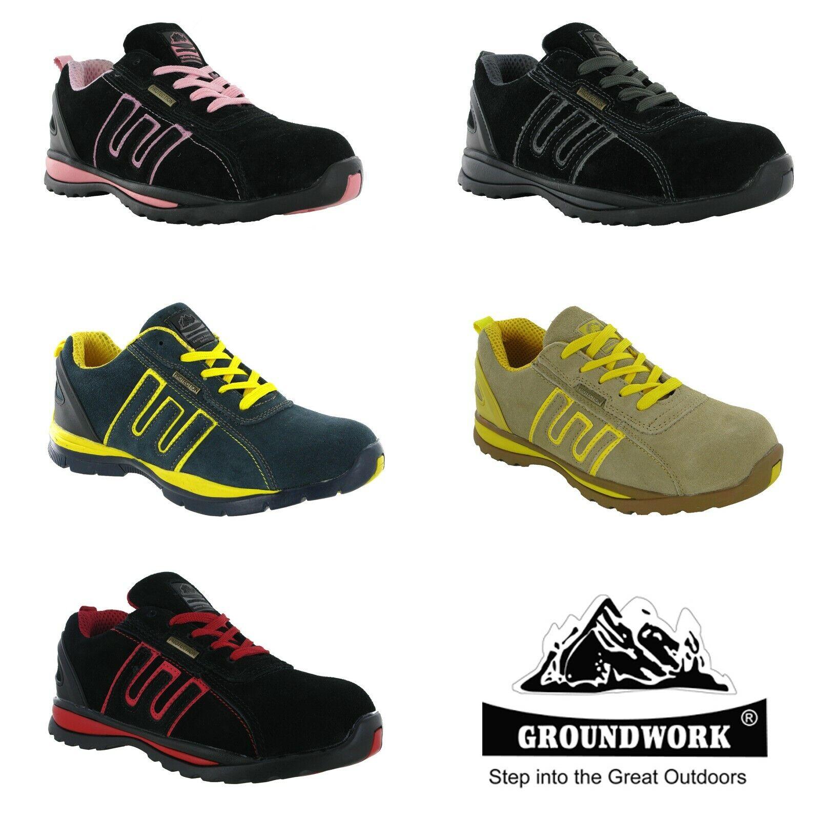 Femmes Baskets Sécurité Groundwork Léger Embout Coqué Travail Chaussures UK3-8