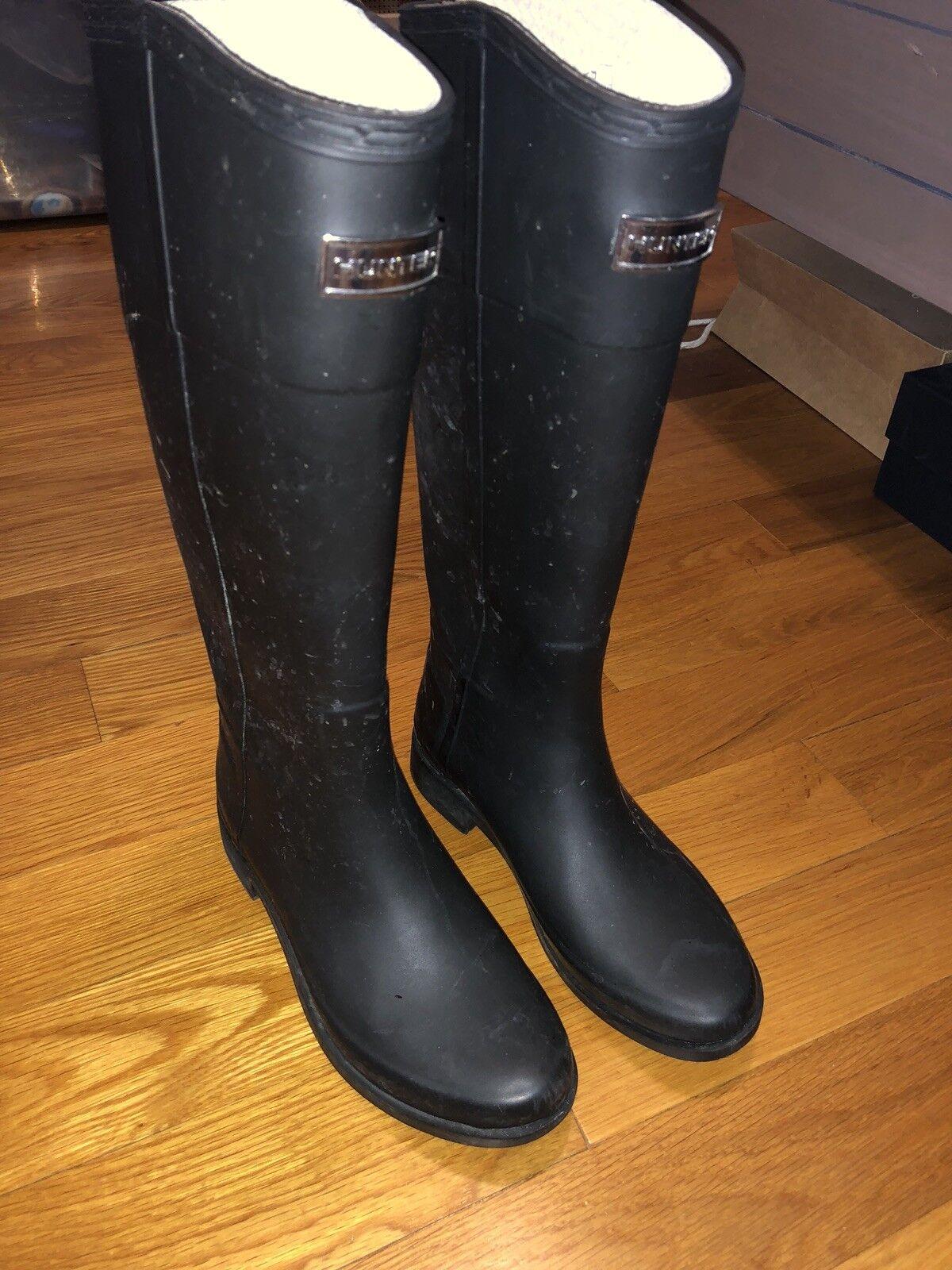 Hunter Tall Rain Boots Black Matte Size 7