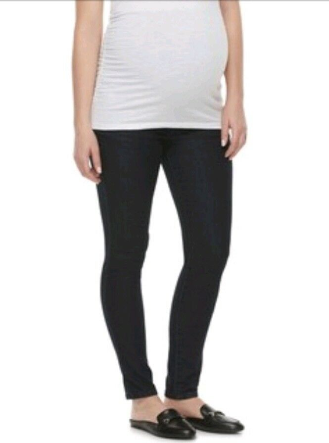 NWT Maternity a glow FULL BELLY PANEL Skinny Jeans DARK Rinse 2 TALL