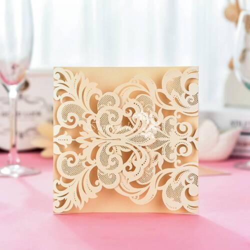 100 PCS Luxury Beige Laser Cut Birthday Wedding Invitation Cards Free Envelopes