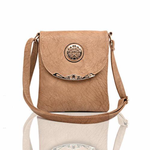 Ladies Khaki Handbag Work Bag Faux Leather Cross Body Messenger Bag