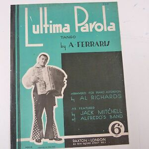 Accordéon L'ulitma Parola Tango Par A. Ferrari, Jack Mitchell Alfredo De La Bd 1935-afficher Le Titre D'origine