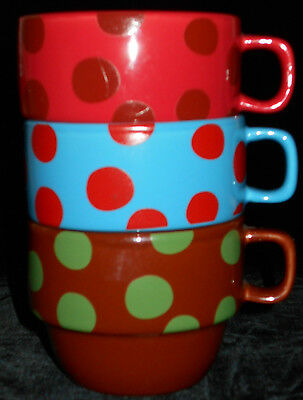 Coffee Mugs 3 Stackable Polka Dots World Market Purple Red Turquoise Blue 5n47