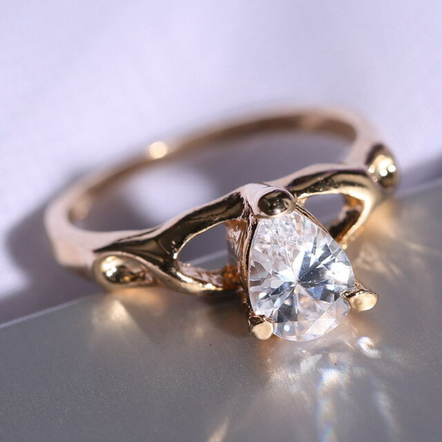 18K Yellow/White Gold Filled Wedding Jewellery Sapphire Engagement Ring size 8