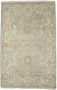 Floral Style Muted Gray Handmade 4X6 Oushak Chobi Oriental Rug Home Decor Carpet