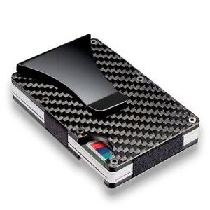de-carbono-Billetera-de-metal-Clip-del-dinero-Titular-de-la-tarjeta-de-credito