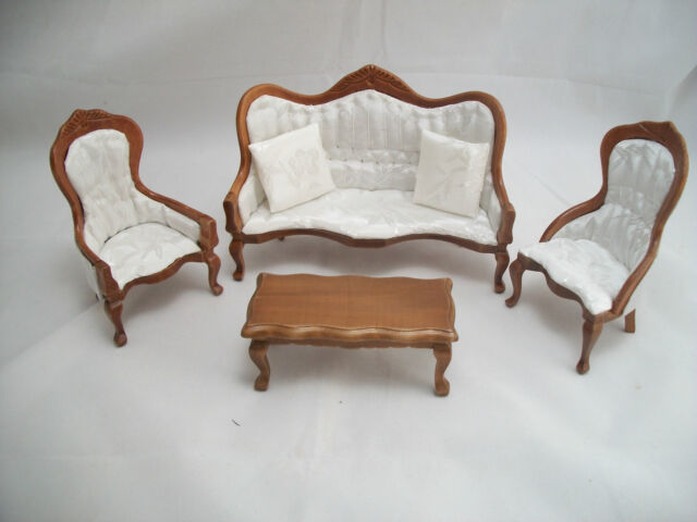 Victorian living room parlor set walnut dollhouse 1 12 - Victorian living room set for sale ...
