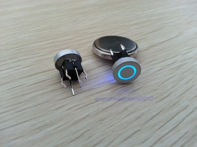 5pcs Blue Led Dia 10mm Cap  Annulus  12V Momentary Tact Push Button Switch