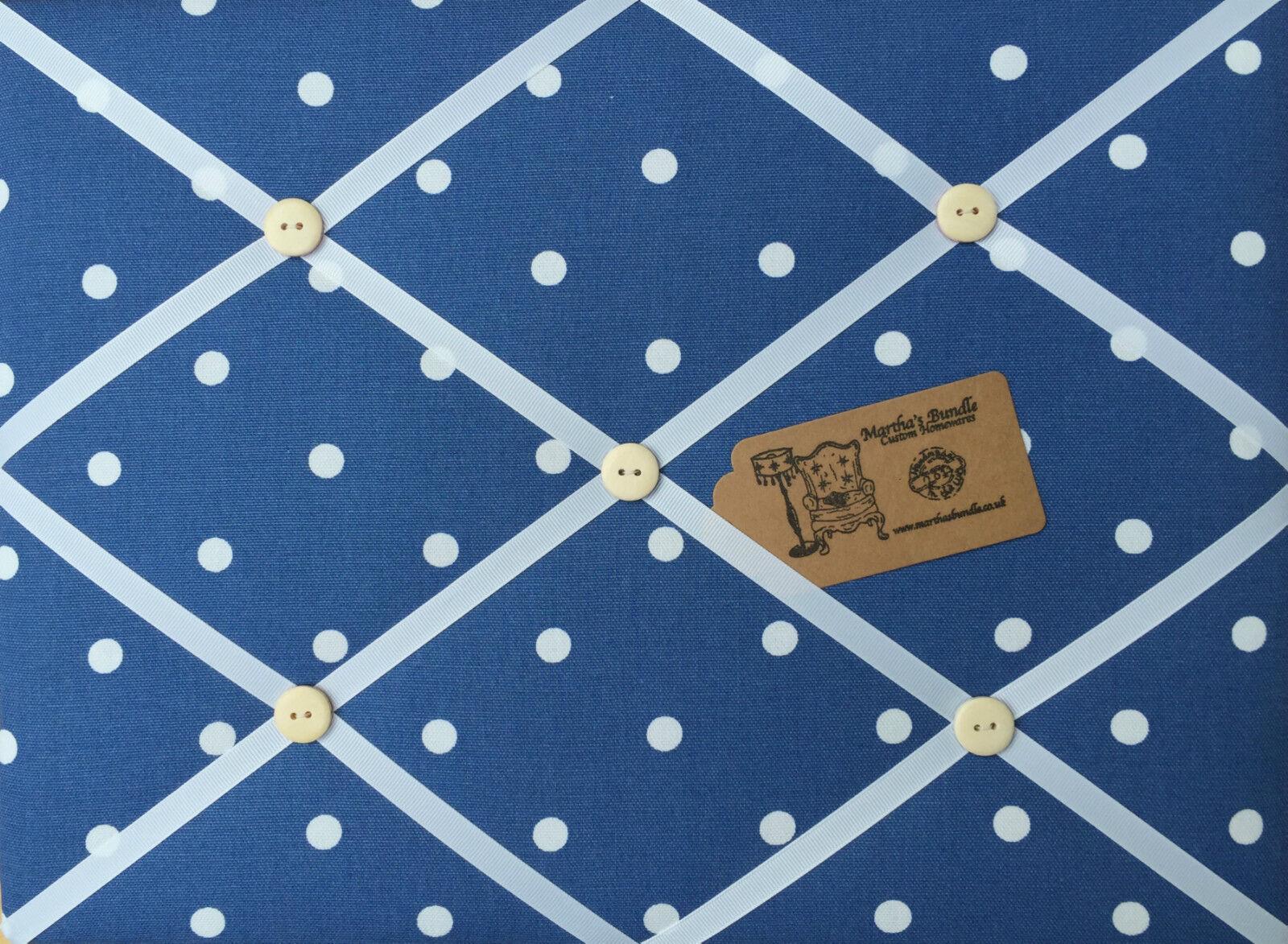 Clarke & Clark Dotty Spot Tela Denim Denim Denim Pin Memo Tablón de anuncios de corcho SML XL LG b8fe77