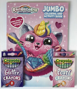 RainBoCorns-Sequin-Surprise-Jumbo-Coloring-amp-Activity-Book-Glitter-Pearl-Crayons