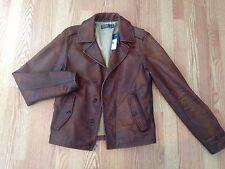 Polo Ralph Lauren rare Safari leather pea coat jacket vintage distressed brown S