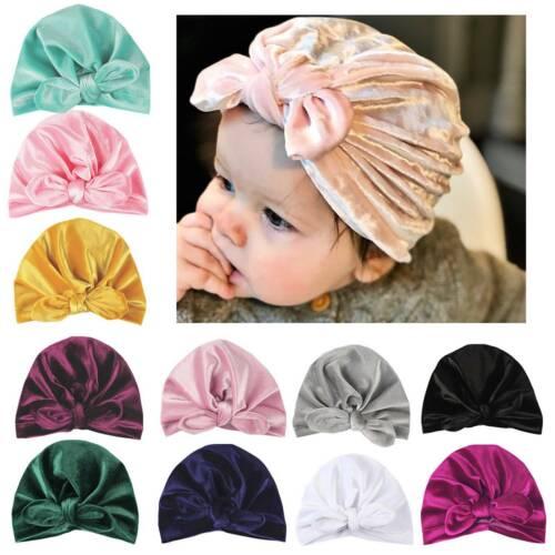 Baby Infant Toddler Turban Head Wrap Tie Hat Velvet Stretch India Ear Cap Winter