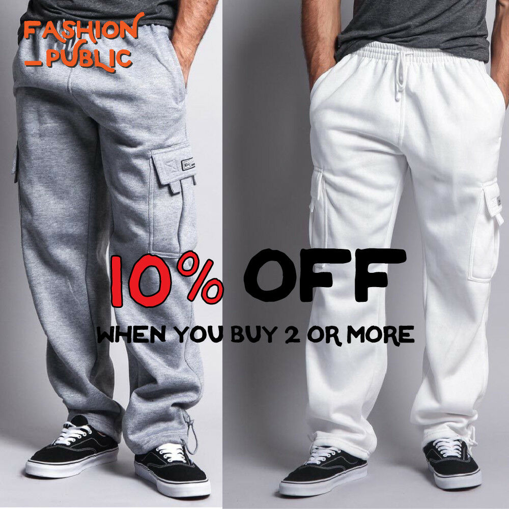 DR CASUAL MEN'S CARGO SWEATPANTS ACTIVE CARGO FLEECE PANTS HAREM JOGGERS COMFY