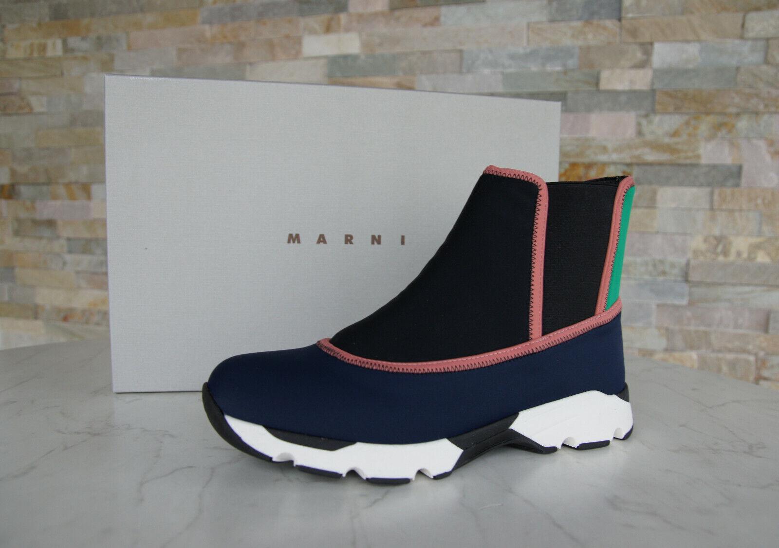 Marni Taille 38 High-Top Slip-On Baskets Chaussures Bariolé Bleu Neuf Autrefois
