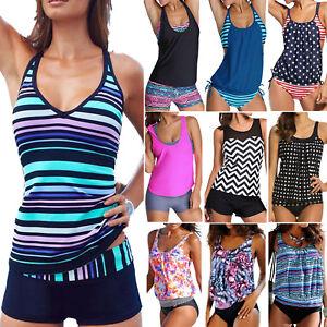 Womens-Sporty-Tankini-Push-up-Swimsuit-Bathing-Suit-Swimwear-Beachwear-Bathers
