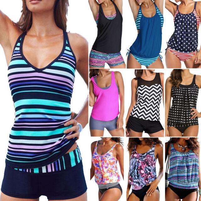 Women Sporty Tankini Push-up Swimsuit Bathing Suit Swimwear Beachwear Bathers AU