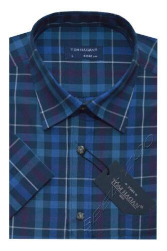 4XL By Tom Hagan Mens Short Sleeve Summer Yarn Dyed Poly Cotton Check Shirt M