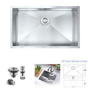 Details about Undermount Handmade 304 Stainless Steel 90 Zero Radius  Kitchen Sink 27\