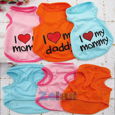 Summer Pet Dog Puppy Cat Clothes Vest Doggie Cute Coat Apparel T-Shirt Costumes