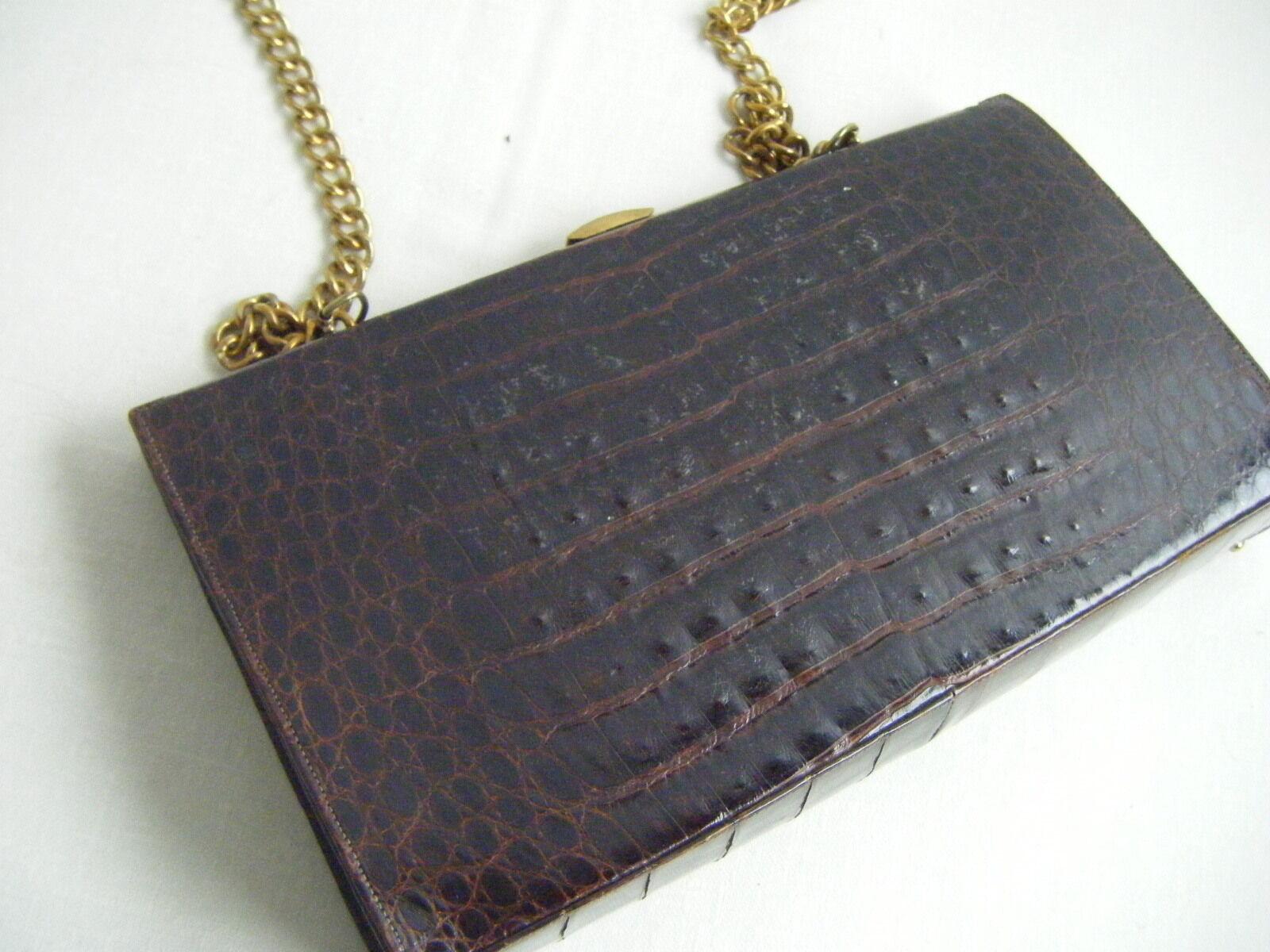 Escot Taschen Vtg Braun Braun Braun Krokodil Mittelgroße Schulter m.   Goldkette, Selten | Erste Klasse in seiner Klasse  | Neuer Eintrag  e98e88