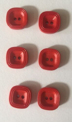 Set of 6 red plastic vintage buttons rounded square shape 17mm