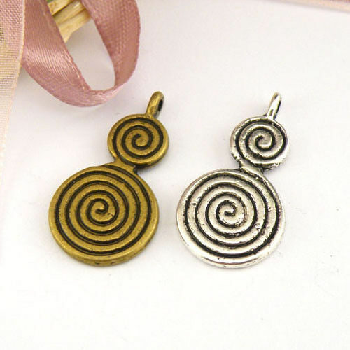 5Pcs Tibetan Silver,Bronze Spiral Gourd Shaped Charm Pendants 14x27mm M1438