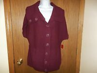 Women's Northcrest Wine Cardigan Sweater Short Sleeves Size L 14 /16