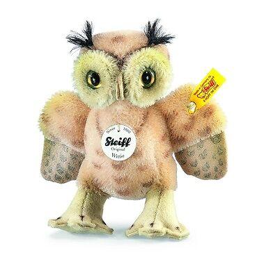 """STEIFF /""""WITTIE OWL/"""" EAN 033131 SPOTTED BEIGE MOHAIR 4.3/"""" CUTE LITTLE OWL"""