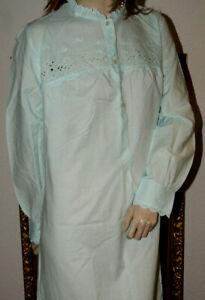 Bildhübsches Vintage Déshabillé * Nuit Robe Bleu Clair Broderie Vettermann 44/46-afficher Le Titre D'origine