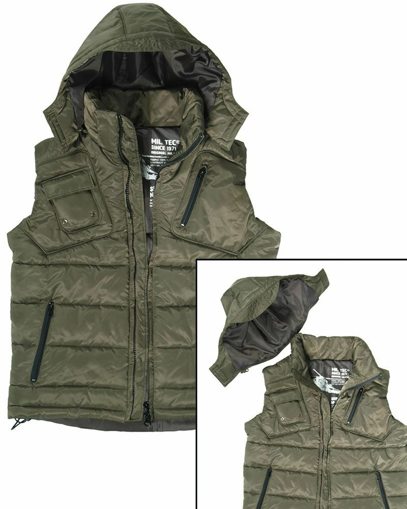 MIL-TEC PADDED BODYWARMER VEST WITH HOOD