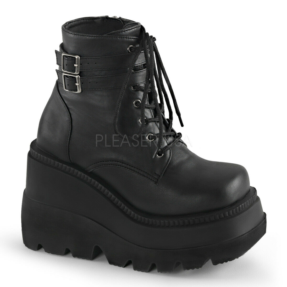 PLEASER Demonia Shaker-52 4 1 2  Stacked Wedge Platform Lace-Up Front Ankle Stiefel