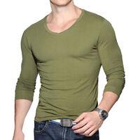 Mens Cotton Stretch T Shirt Long Sleeve V Neck Fashion T-Shirt Pullover Tee Tops