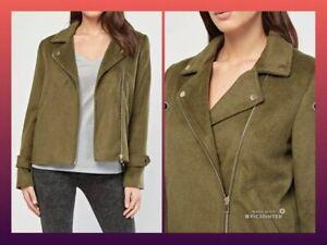 28e7faff5 Details about New* Khaki Olive Soft Casual Lapel Ladies Wool Mix Biker  Jacket * FALMER * UK 14