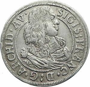 1664-AUSTRIA-County-of-Tyrol-State-Crown-Genuine-Silver-3-Kreuzer-Coin-i74796