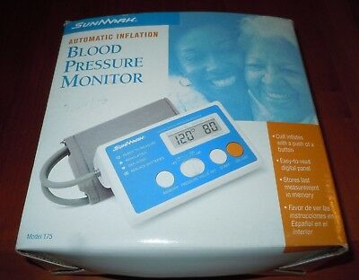 Sunmark Automatic Inflation Blood Pressure Monitor Model # 175 Works Well EUC