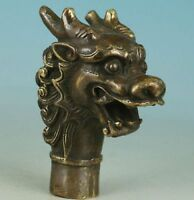 Chinese Old Bronze Handmade Carved Dragon Collect Statue Cane Walking Stick Head