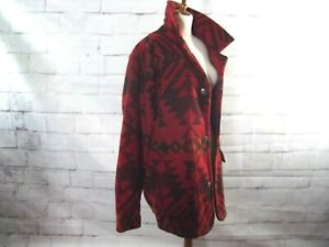 Vtg-Woolrich-Aztec-Navajo-Coat-Wool-Blanket-Jacket-80-039-s-Southwest-Made-in-USA-M