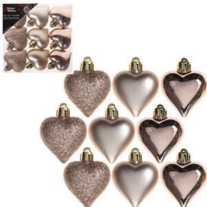 Details About 9pcs 40mm Rose Gold Christmas Tree Hearts Decorations Hanging Baubles Ornaments