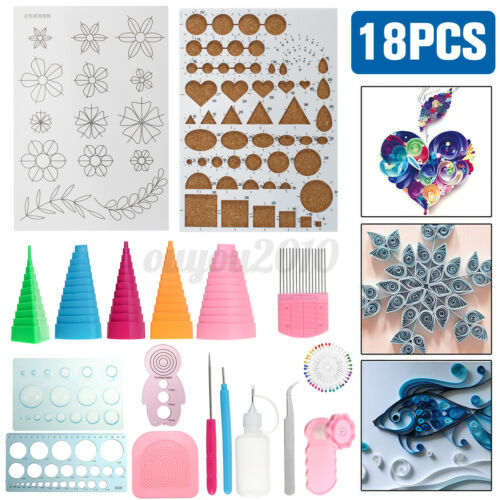 18pcs Quilling Paper Kit Cork DIY Craft Workboard Slotted Tool Art Creation Set