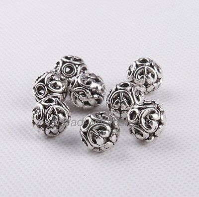 New 10Pcs Silver/Gold/Bronze Tibetan Round Shaped Hollow Spacer Bead Findings